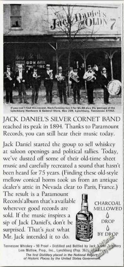 Jack Daniel's Silver Cornet Band Photo Whiskey (1974)