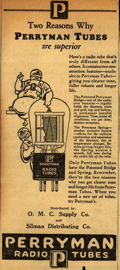 Perryman Radio Tube's Radio Tubes – Two Reasons Why Perryman Tubes are superior (1929)