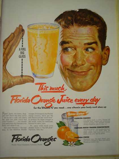Florida Oranges This much Florida Orange Juice each day (1952)