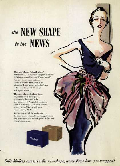 Modes's Sanitary Napkins – The New Shape is the News (1950)
