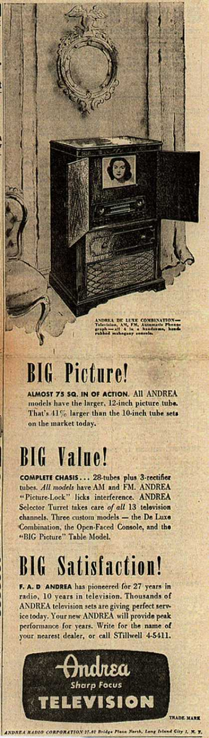 Andrea Radio Corporation's Andrea DeLuxe Combination – Big Picture (1948)