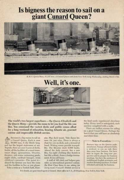 Cunard Queen Mary Cruise Ship New York (1965)