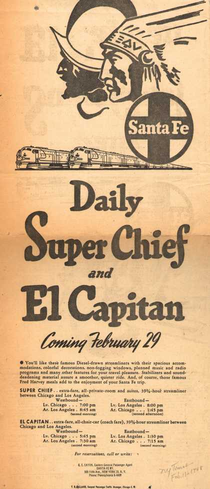 Santa Fe Railway – Daily Super Chief and El Capitan Coming February 29 (1948)