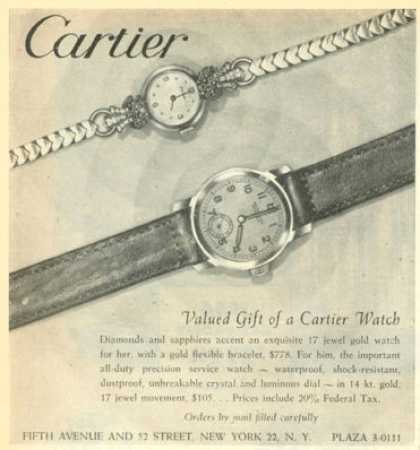 Cartier Diamond Sapphire His & Her Watch (1945)