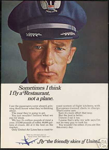 United Airlines Pilot Photo Better Food (1966)
