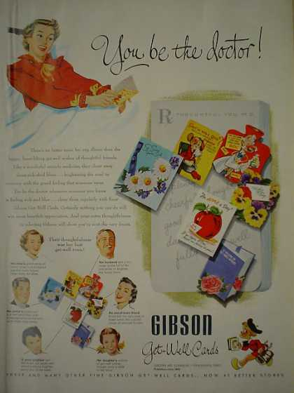 Gibson Get Well Cards You be the doctor (1950)
