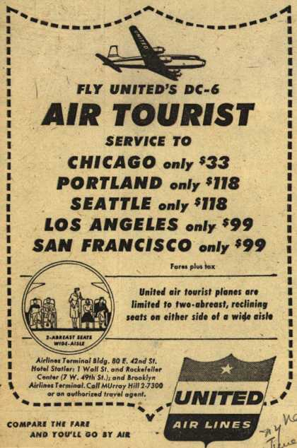United Air Line's DC-6 Air Tourist Service – Fly United DC-6 Air Tourist (1953)