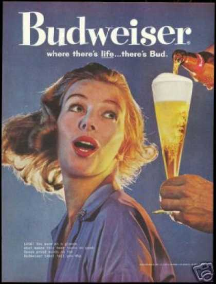 Budweiser Beer Where There's Life Bud (1960)