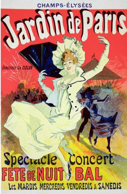 "Reproduction of a Poster Advertising the ""Jardin De Paris"" on the Chanps Elysees (1890)"