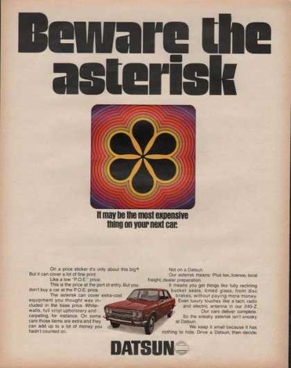 Datsun Red Car Deware the Asterisk (1970)