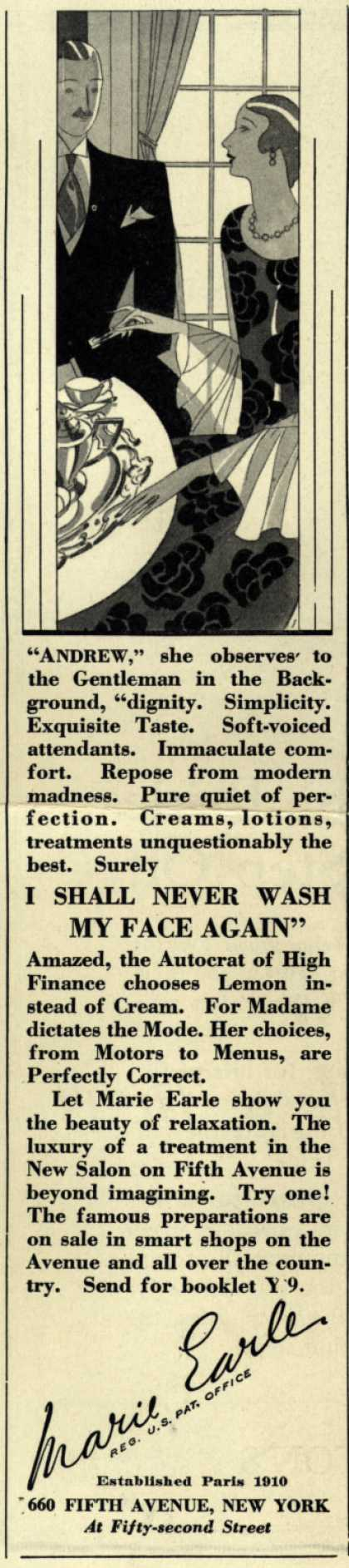 Marie Earle's Cosmetics – I Shall Never Wash My Face Again (1927)