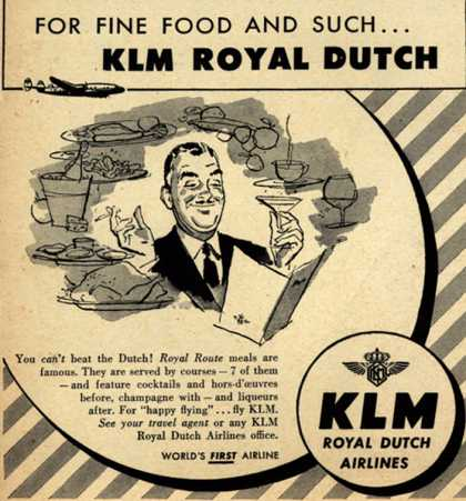 KLM Royal Dutch Airline's Meals – For Fine Food And Such... KLM Royal Dutch (1952)