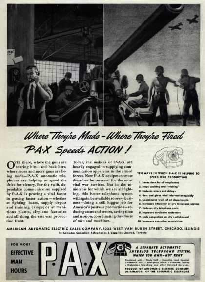 American Automatic Electric Sales Company's P-A-X automatic telephones – Where They're Made- Where They're Fired: P-A-X Speeds Action (1943)