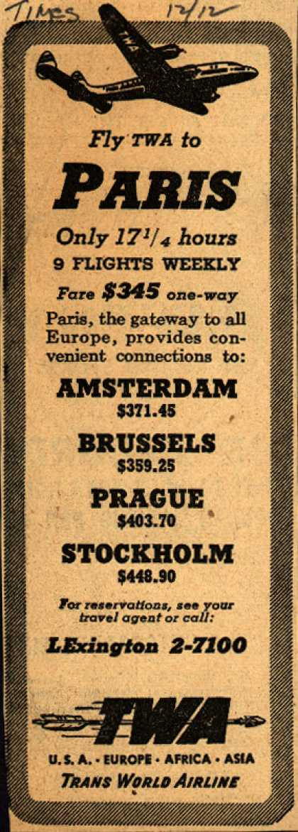 Trans World Airline's Paris – Fly TWA to Paris (1947)