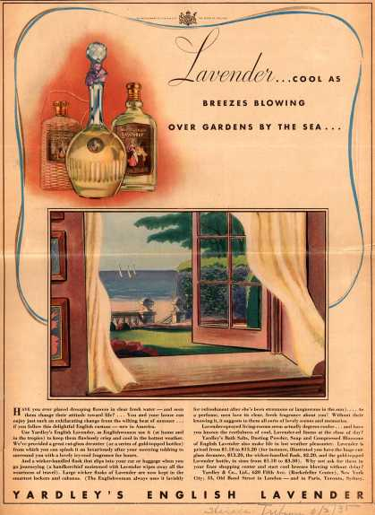 Yardley & Co., Ltd.'s English Lavender – Lavender...Cool As Breezes Blowing Over Gardens By The Sea (1935)