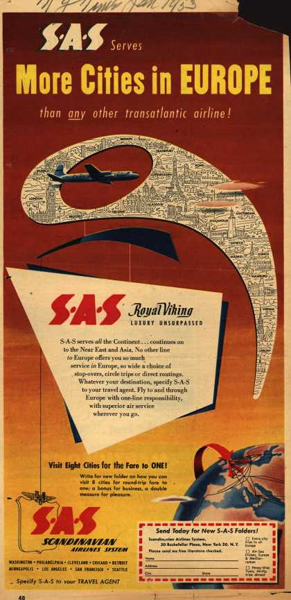 Scandinavian Airlines System – SAS Serves More Cities in Europe than any other transatlantic airline (1953)