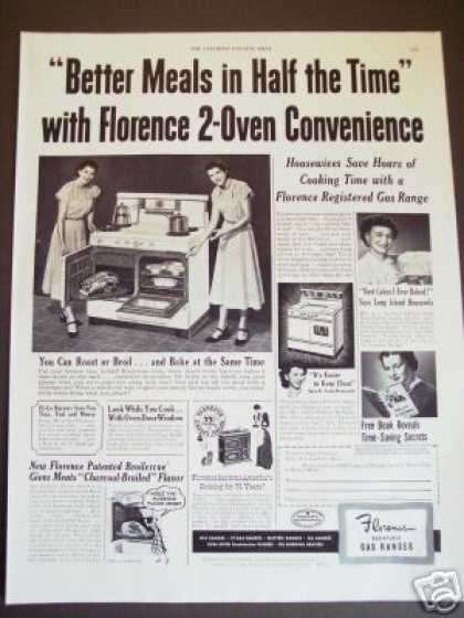 Original Florence Gas Stove Range 2 Ovens Photo (1949)