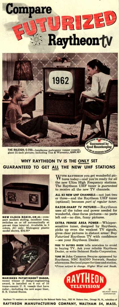 Raytheon Manufacturing Company's Various – Compare Futurized Raytheon TV (1952)
