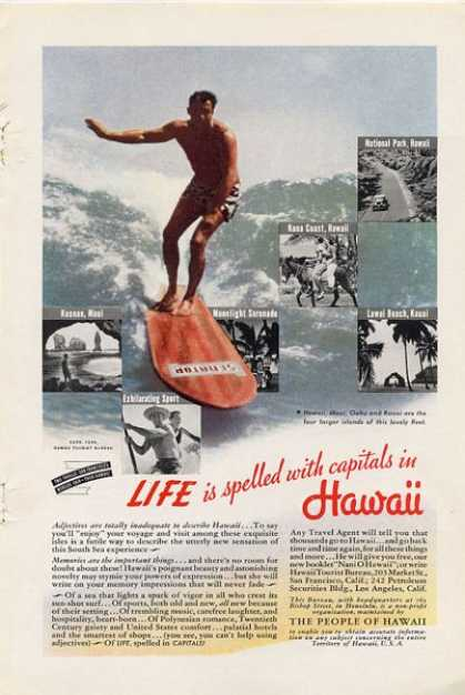 Hawaii Travel Wood Surf Board T (1938)