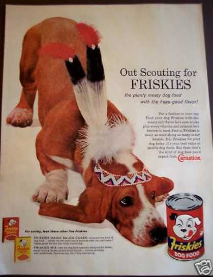 Friskies Dog Food Beagle W/ Indian Headdress (1962)
