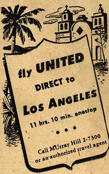 United Air Line's Los Angeles – fly UNITED DIRECT to LOS ANGELES (1948)