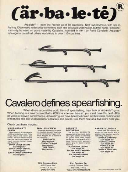 Cavalero Speargun Arbalete Spearfishing Scuba Ad T (1979)