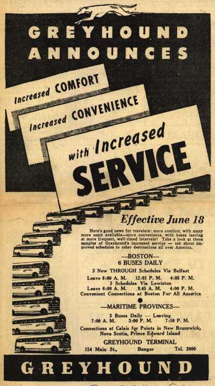 Greyhound – Greyhound Announces Increased Comfort, Increased Convenience, with Increased Space. (1946)