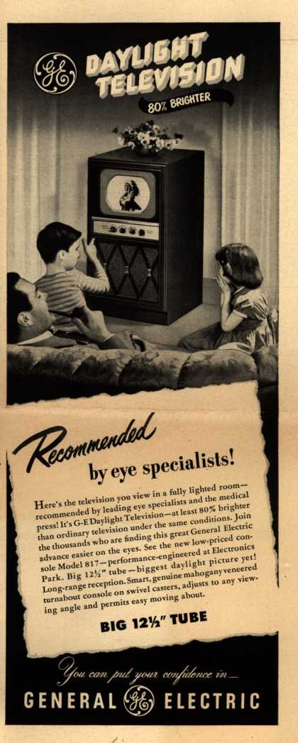 General Electric Company's Daylight Television – Daylight Television 80% Brighter Recommended by eye specialists (1949)