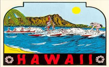Hawaii, Surfers at Diamond Head