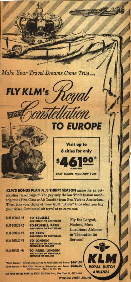 KLM Royal Dutch Airline&#8217;s Royal Super Constellation &#8211; Make Your Travel Dreams Come True... (1953)