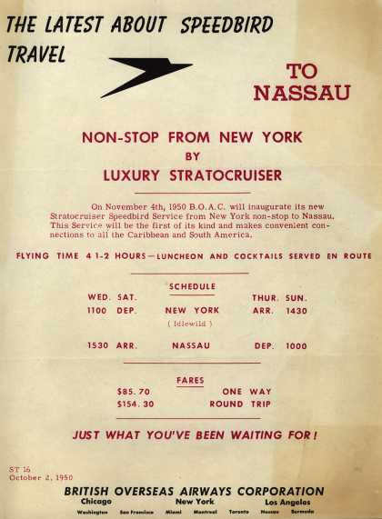 British Overseas Airways Corporation's Nassau – THE LATEST ABOUT SPEEDBIRD TRAVEL (1950)