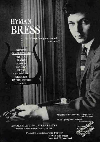 Nice Hyman Bress Photo Violinist Rare Booking (1963)