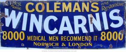 Coleman's Wincarnis Norwich & London Sign