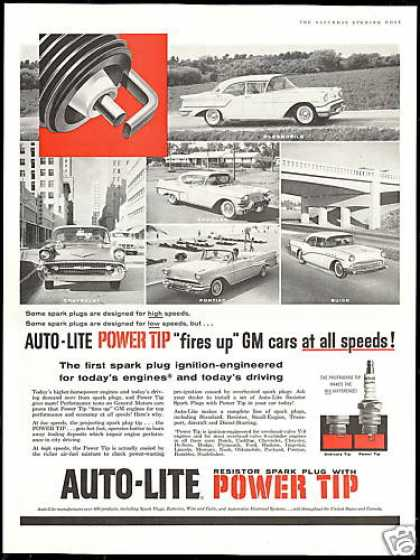 Auto-Lite Spark Plugs GM Car Photos (1957)