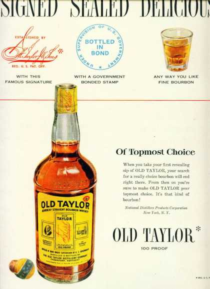 Old Taylor Straight Bourbon Whiskey C (1950)