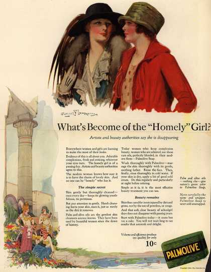 "Palmolive Company's Palmolive Soap – What's Become of the ""Homely"" Girl? (1924)"