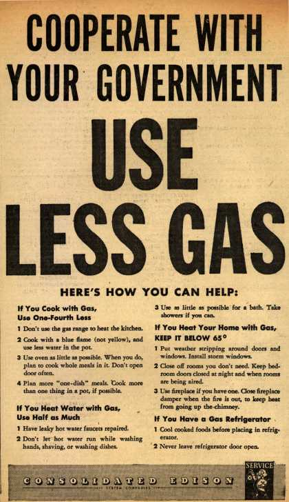 Consolidated Edison's Gas – Cooperate With Your Government USE LESS GAS (1943)