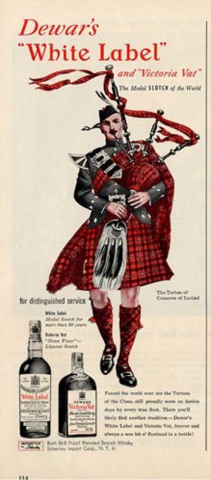 Dewar Scotch Cameron Lochiel Bagpipes (1950)