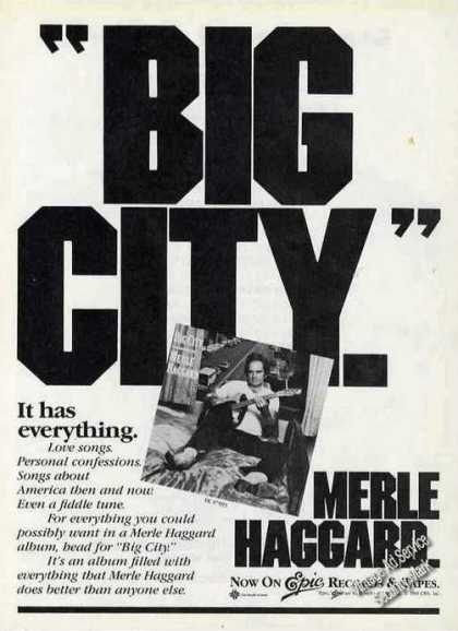 "Merle Haggard ""Big City"" Country Music Album (1981)"