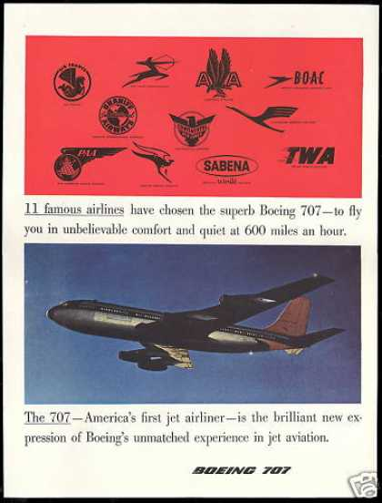 Boeing 707 Airplane Airlines Logos PAA, Qantas (1957)