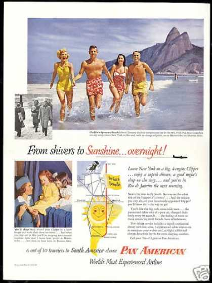 Pan American Airways PAA Rio Ipanema Beach (1953)