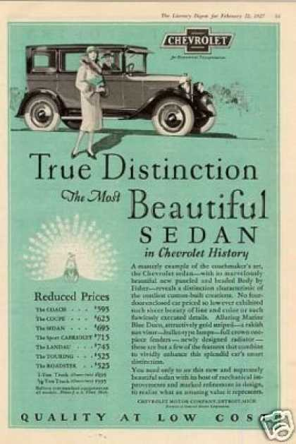 "Chevrolet Sedan Ad ""True Distinction... (1927)"