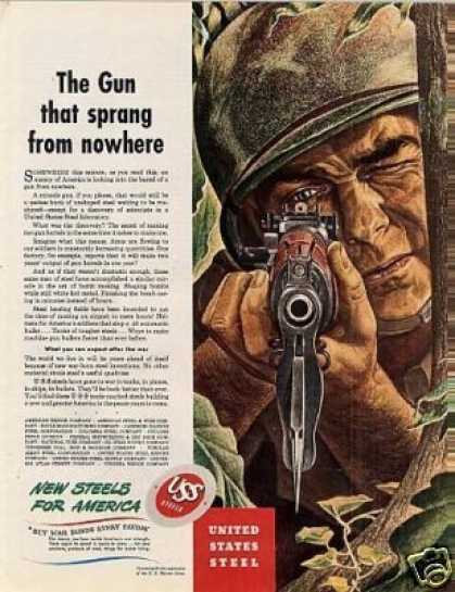 "Uss Steel Ad ""The Gun That Sprung... (1943)"