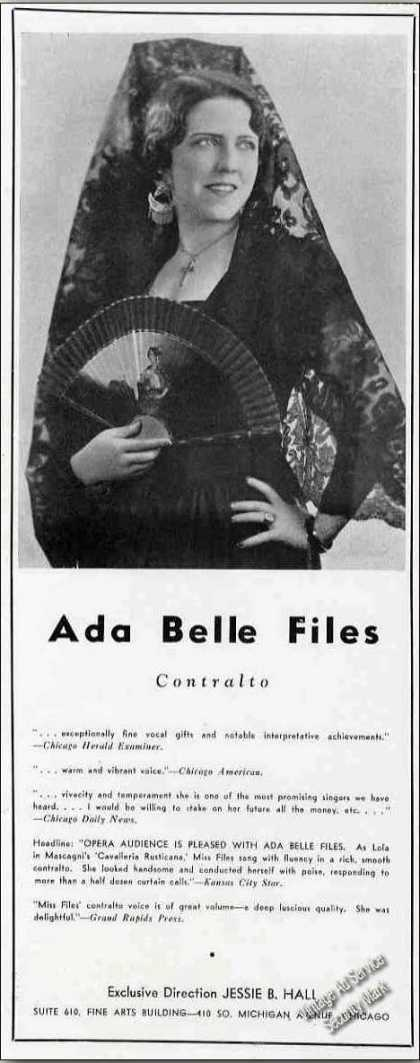 Ada Belle Files Contralto Opera Trade (1936)