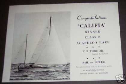 Califia Sailboat Acapulco Race Winner Original (1964)