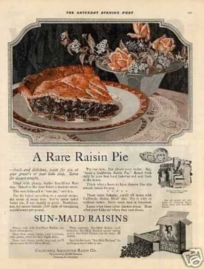 "Sun-maid Raisins Color Ad ""A Rare Raisin Pie... (1920)"