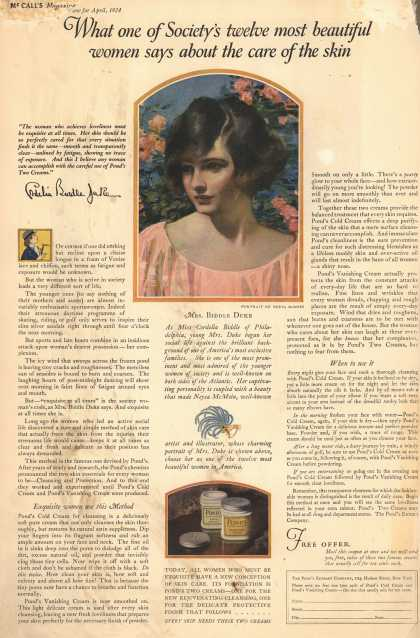 Pond's Extract Co.'s Pond's Cold Cream and Vanishing Cream – What one of Society's twelve most beautiful women says about the care of the skin. (1924)