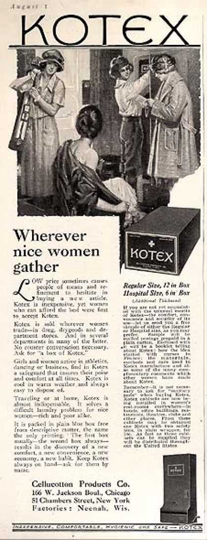 "Kotex's ""Wherever nice women gather"" (1922)"