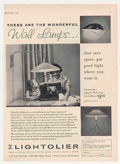 Lightolier Wall Lamps 3 Styles Photo (1955)