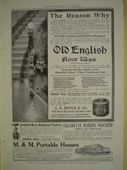 Old English Floor wax AND McCray refrigerators AND Gray motors AND Blookers' Cocoa AND Electro Silicon (1909)